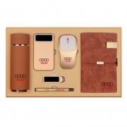 磨砂保温杯+移动电源+无线鼠标+钥匙扣+签字笔+笔记本六件套礼盒装