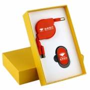 手机指环扣支架+三合一伸缩数据线两件套礼盒 公司年会小礼品