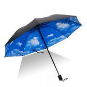 蓝天白云黑胶折叠晴雨伞 实用促销礼品