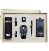 高档商务七件套 保温杯+旋转U盘+蓝牙耳机+小音箱+鼠标+移动电源+签字笔礼盒套装