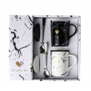 简约大理石纹黑白对杯带盖子勺子礼盒套装 精美小礼品