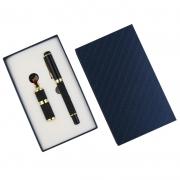 高端创意中国风浮雕皮革U盘+皮具签字笔/钢笔礼盒 公司年会礼品