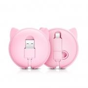 萌兔馋猫伸缩二合一充电线 适用于手机数据线 精致创意小礼品