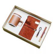 匠心商务礼盒四件套 粗陶杯+笔记本+红木笔+钥匙扣  送国外客户什么礼物好