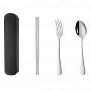 便携盒304不锈钢餐具三件套 叉子勺子筷子餐具礼品套装 促销礼品定做