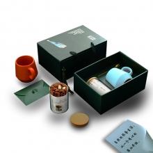 商务轻奢陶瓷马克杯+多功能储物罐两件套礼盒装 银行房地产礼品推荐