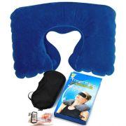 金皇冠植绒充气枕+眼罩+耳塞旅行三宝 活动礼品