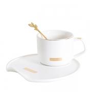 黑白简约北欧风带勺带碟咖啡杯定制 公司礼物