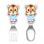 卡通萌趣老虎餐具2件套 304不锈钢勺子叉子 儿童小礼品