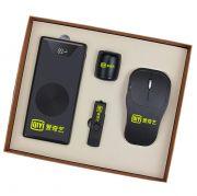 商务无线充电宝10000毫安+旋转U盘+小音箱+无线充电鼠标四件套 送客户礼物送什么好