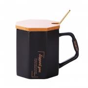 简约唯美北欧风菱形马克杯 创意八角咖啡杯带木盖勺子 员工生日礼品推荐