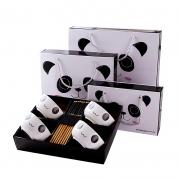 【国宝熊猫】青花瓷简约黑白碗筷礼盒套装 实用小礼品有哪些