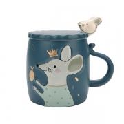 【浮雕萌鼠】带盖勺卡通陶瓷马克杯 搞活动送什么小礼品好