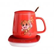 牛气冲天陶瓷暖暖杯 55度自动加热恒温杯带勺带盖礼盒装