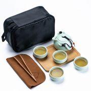 【定窑】便携旅行茶具套装(一壶四杯+茶盘+茶巾+茶夹+旅行包)展会礼品送什么好