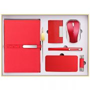高档笔记本+书签+名片夹+签字笔+鼠标+移动电源+U盘礼盒套装 商务礼品七件套