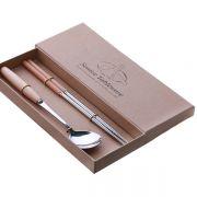 便携木柄餐具套装 不锈钢勺筷两件套 广告小礼品