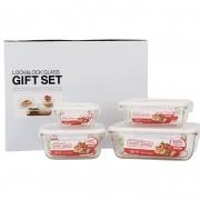 【乐扣乐扣】耐热玻璃保鲜盒饭盒便当盒 冰箱收纳盒密封微波炉专用 四件套LLG203SP4
