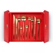 【开门大吉】中国红餐具礼盒 拉丝工艺不锈钢西餐具套装 刀叉勺十件套