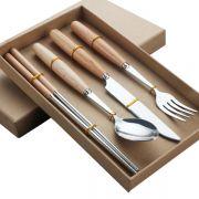 便携原木不锈钢西餐具套装 榉木柄刀叉勺筷子四件套