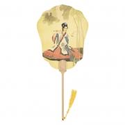 中国文化古典团扇 竹腩木手柄高档宣纸宫扇