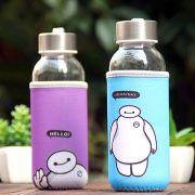 卡通大白300ML带布套便携玻璃杯水 搞活动送什么小礼品好