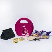 高档创意毛毡提手袋端午节礼品 粽子*4+咸鸭蛋*2+收纳盒+桂花糕+扇子