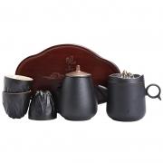 观山茶具六件套套装 粗陶便携旅行茶具配茶盘 高档商务答谢礼品