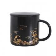 创意古风国潮浮雕描金陶瓷杯中国风马克杯 商务礼品