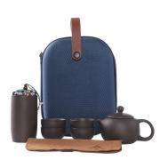 便携旅行紫砂功夫茶具陶瓷 旅行包一壶四杯+茶叶罐 公司活动礼品