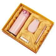 商务保温杯+暖手充电宝+U盘32G+钢笔四件套套装 年会抽奖礼品推荐