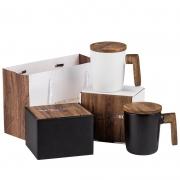 创意北欧木手柄带盖马克杯礼盒套 办公室复古陶瓷杯 周年庆礼品定制