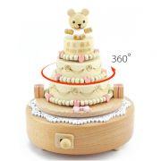 生日蛋糕木质音乐盒 手工创意家居摆件 员工生日礼物