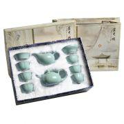 【汝瓷天青】功夫茶具10件套礼盒装(茶杯*6+茶壶+茶海+茶漏)工会活动奖品