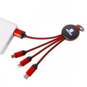 【定制发光LOGO】多功能钥匙扣数据线 三合一编织充电线