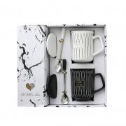 简约几何浮雕黑白对杯带盖子勺子礼盒套装 30元左右小礼品