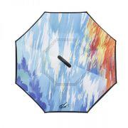 油画反向伞 创意第三代c型手柄双层免持式反向伞 公司活动纪念品