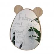 北欧简约卡通小熊木质化妆镜 桌面梳妆镜 搞活动的小礼品