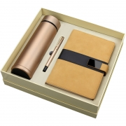 智能数显商务保温杯+签字笔+笔记本三件套礼盒装 公司周年庆礼品