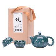 石纹墨绿一壶两杯 精美陶瓷茶具三件套 展会小礼品