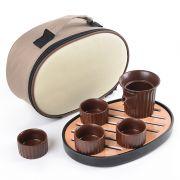【花好月圆】创意旅行茶具套装(泡茶器+茶杯*4+茶托)50元中秋礼品