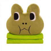 创意卡通青蛙抱枕毯珊瑚绒 抱枕+毯子二合一 能够当活动礼品