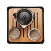 规矩方圆 一壶一盘两杯 茶道礼盒套装四件套 黑陶茶具礼盒礼品定制 周年庆送什么礼品