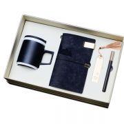 匠心商务礼盒四件套 粗陶杯+笔记本+红木笔+书签  高档商务礼品