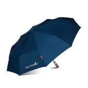 全自动纯色防风晴雨伞原木手柄商务三折伞 赠送客户的小礼品
