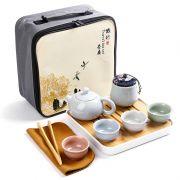 【宋代定窑】正方形便携旅行茶具9件套装 50元左右的礼品