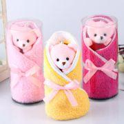 小熊创意造型纯棉毛巾(两条装) 童心杯毛巾 儿童节礼品
