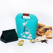 高档创意毛毡提手袋端午节礼品 五芳斋粽子*4+咸鸭蛋*2+收纳盒+桂花糕+扇子