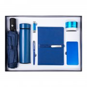 商务实用礼盒七件套 保温杯+雨伞+笔记本+U盘+签字笔+蓝牙音响+移动电源 周年庆礼品