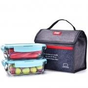 【乐扣乐扣】耐热玻璃保鲜盒两件套 烤箱微波炉便当饭盒(750ML+750ML)玻璃保鲜盒2件套